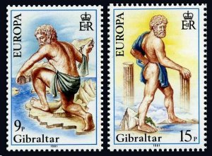 Gibraltar 400-401 two sets,MNH. Mi 416-417. CEPT-1981. Folklore. Hercules, Maps.