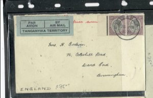TANGANYIKA  COVER (P2908B) 1931  KGV   30CX2   A/M COVER TO ENGLAND