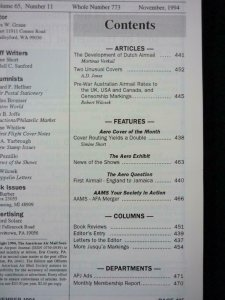 TWELVE ISSUES OF THE AIRPOST JOURNAL VOL 65 No's 11-12 (1994) VOL 66 1-10 (1995)