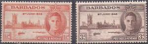 BARBADOS - 1946 - Victory - 2v Set - M N H