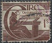 Ireland 129 (used, pulled corner) 1sh Michael O'Clery, reddish brown (1944)