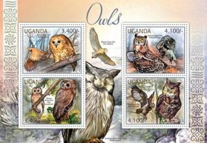Uganda MNH S/S Owls Birds Of Prey 2012 4 Stamps