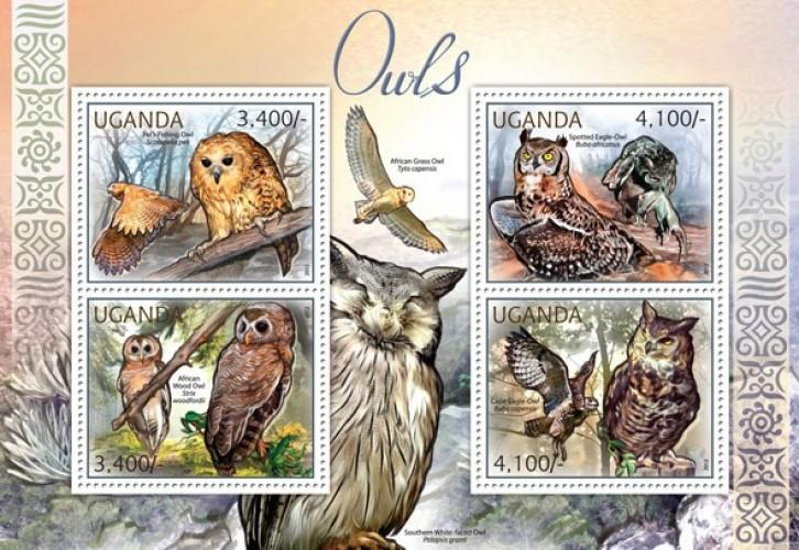 Uganda MNH S/S Owls Birds Of Prey 2012 4 Stamps