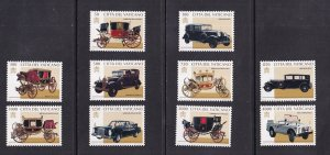 Vatican City   #1028-1037    MNH   1997  Papal cariages and automobiles