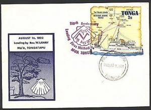 TONGA 1972 commem cover and cancel Landing of 1st Methodist Missionary.....93879