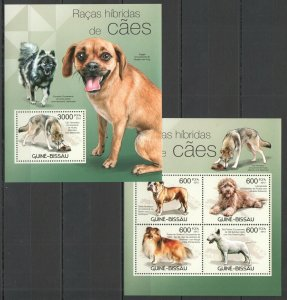 BC455 2012 GUINEA-BISSAU FAUNA ANIMALS PETS HYBRID BREED DOGS RACES BL+KB MNH