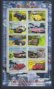 FRANCE SG3655a 2000 PHILEXJEUENES 2000 VINTAGE CARS MNH