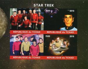 Chad 2018 MNH Star Trek Spock Leonard Nimoy Kirk Shatner 4v IMPF M/S Stamps