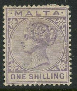 MALTA Sc#13 SG#28 or 29 1885 1sh violet Crown & CA Wmk Fine Mint OG Hinged