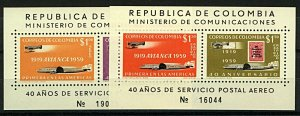 Colombia 1957 Air Aviancia Sheetlets sgMS1000+1001 cv£40+  UM Stamps