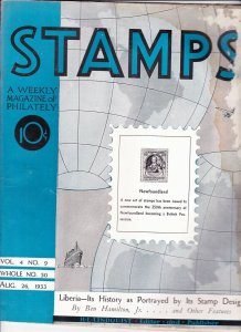 Stamps Weekly Magazine of Philately August 26, 1933 Stamp Collecting Magazine