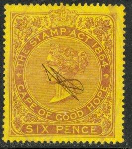CAPE OF GOOD HOPE 1885 6d QV General Revenue BFT.114 Used