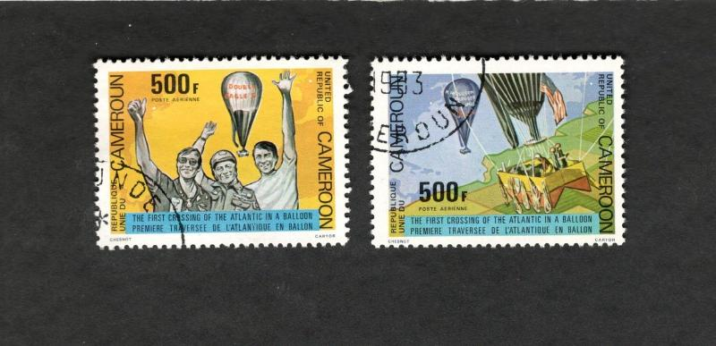 1983Cameroon SC #C285-86 FIRST CROSSING OF THE ATLANTIC IN A BALLOON used stamp