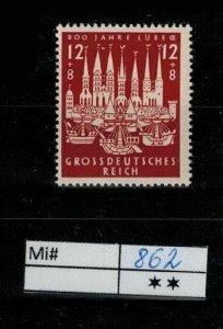 Deutschland Reich TR02 DR Mi 862 1939 Reich Postfrisch ** MNH