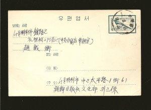 Korea Prestamped Posted Postal Card Used