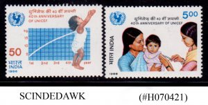 INDIA - 1986 40th ANN. OF UNITED NATIONS CHILDREN'S FUND (UNICEF) 2V MNH