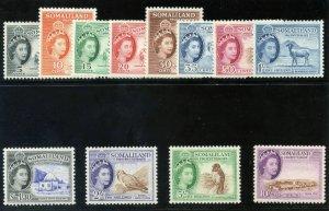 Somaliland 1953 QEII set complete MLH. SG 137-148. Sc 128-139.