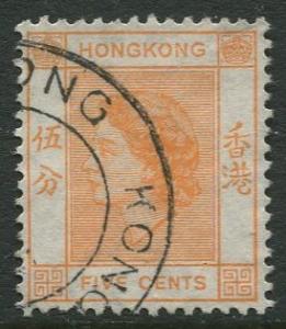 Hong Kong - Scott 185 - QEII - Definitive - 1954 - FU - Single 5c Stamp