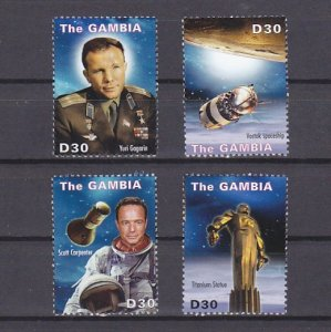 Gambia, Scott cat. 3354 a-d. First Person in Space issue. ^