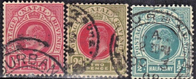 ROSS1374: NATAL  SC# 81,82+84 **USED** 1902-03  KING EDWARD VII