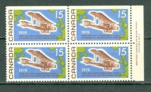 CANADA 1969 VICKERS  #494 UR PLATE CORNE  MNH...$12.50
