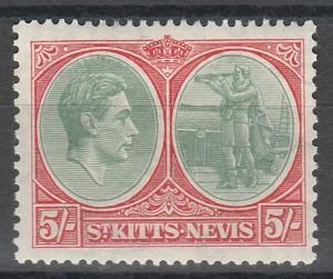 ST KITTS NEVIS 1938 KGVI COLUMBUS  5/- PERF 13 X 12