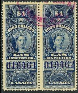 CANADA 1897 QV $4.00 GAS INSPECTION REVENUE VDM. FG28a PAIR VF USED