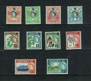 Jamaica: 1953, Queen Elizabeth definitive, short set to 1/-, Mint