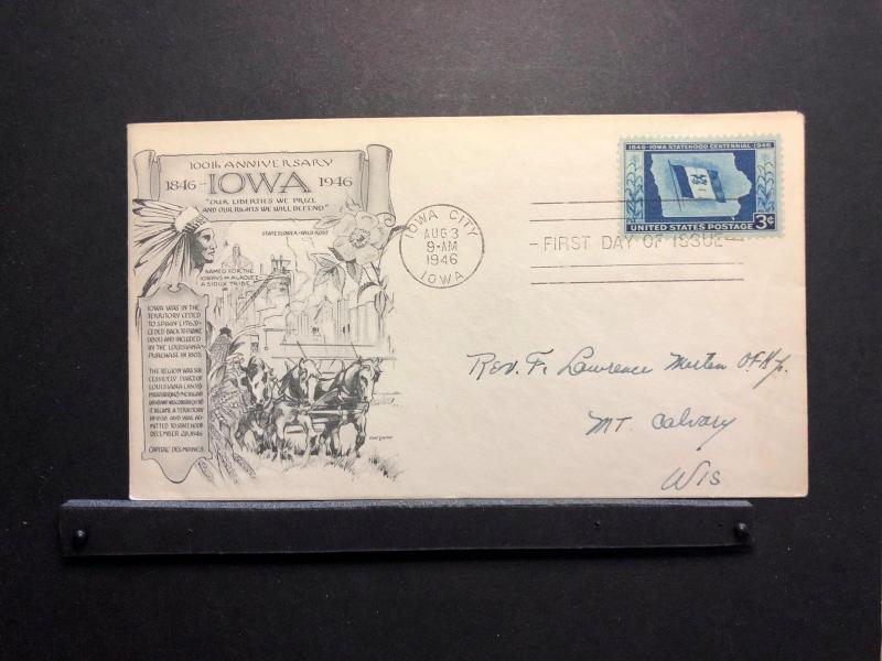 US FDC 3 Aug 1946 SC942 Day Lowry Cachet 100th Anniversary of IA Addressed