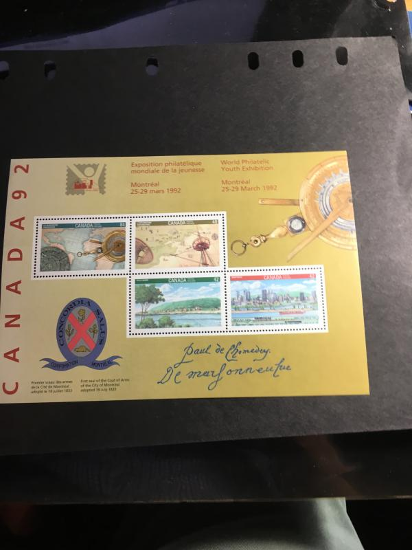 Canada CANADA 92 Signature Sheet, Only 10,000 IssuedUSC #1407ai VF-NH Cat.$125