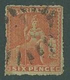Barbados SC# 31 Britannia 6d, orange, WMK 5 Used ROUGH PERF