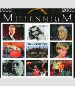 Turkmenistan 1999 Millennium De Gaulle-Roosevelt sheet perforated mnh.vf