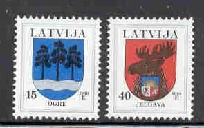 Latvia Sc 482-3 1999 Coats of Arms stamp set mint NH