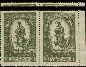 LIECHTENSTEIN - 1920 - Mi.40 Pair with extra lines in top margin - Mint **