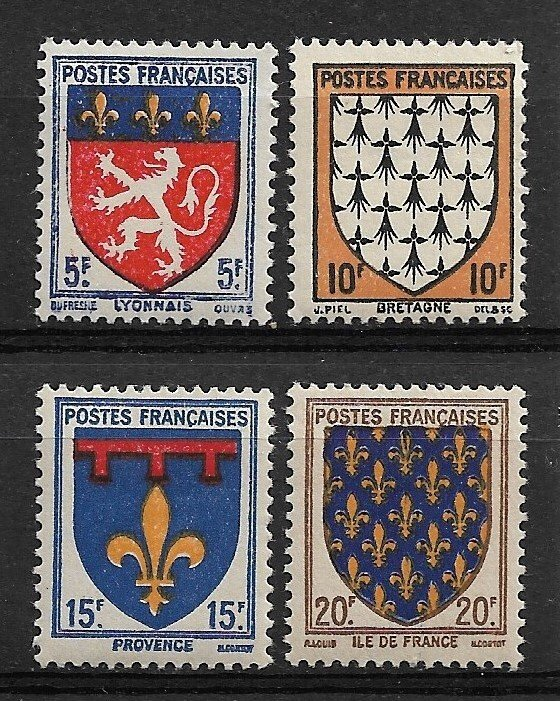 1943 France 460-3 Coat of Arms C/S of 4 MNH