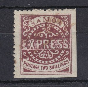 BC265) Samoa 1878 2/- Red-brown 2nd State SG8 pen-cancelled