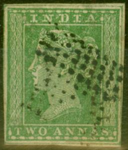 India 1854 2a Green SG31b Clearly Showing Wmk Type 10a No 4 Fine Used