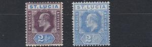 ST LUCIA  1904 - 10  S G   68 - 69   2 X 2 1/2D   VALUES  MH