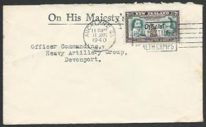 NEW ZEALAND 1940 OHMS military cover 2d Tasman OFFICIAL opt ,..............12342