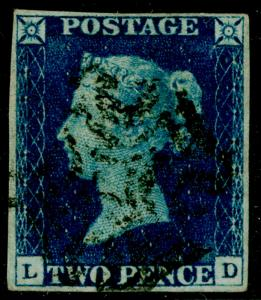 SG5, 2d blue, FINE used. Cat £850. BLACK MX. 4 MARGINS. LD