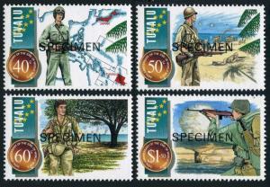 Tuvalu 704-707 SPECIMEN,MNH.Mi 725-728. World War II,end-50,1995.Atomic mushroom
