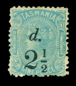 TASMANIA 1891 Queen Victoria  2.5p on 9p light blue  Scott # 74 mint MH