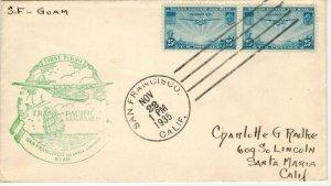 1935 Airmail Trans Pacific 1ST FLIGHT SAN FRANCISCO TO GUAM C20 FDC Pair Clean!