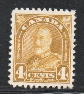 Canada Sc 168 1930 4 c yellow bistre George V Arch issue stamp mint