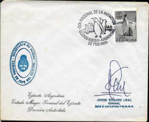 AANT-53 ARGENTINA 1963 ANTARCTIC ANTARCTICA DAY SIGNED BY POLAR HEROE CNEL LEAL