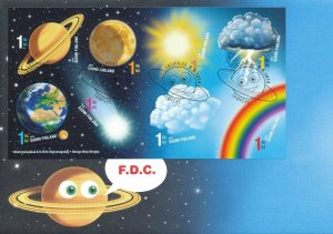 2014 FINLAND  - SIGNS OF SKY - ASTRONOMY / WEATHER M/S  ON FIRST DAY COVER
