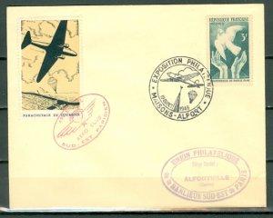 FRANCE PARACHUTING MAIL PARIS EXPO 1946..SOUV. ENVELOPE...YELLOW LABEL