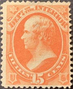 #O102 – 1879 15c ver, interior, soft paper.  Mint LH.  No Gum.