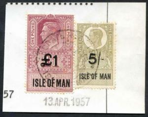 Isle of Man KGVI One Pound and 5/- Key Plate Type Revenues CDS on Piece