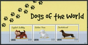 Liberia Stamps 2012 MNH Dogs of World English Bulldog Dachshund 3v M/S I